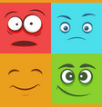 set of colorful faces emoticons emoji flat pattern vector image