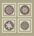 set retro christmas postage stamps vector image vector image