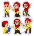Sticker set with muslim children vector image vector image