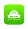 sword icon green vector image vector image