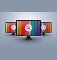 three monitors with media icons vector image
