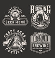vintage monochrome beer prints vector image vector image