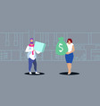 woman holding money bag paying dollars to man with vector image vector image