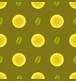 yellow lemon fruits seamless pattern vector image