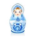Blue Russian doll Matreshka in gzhel style vector image
