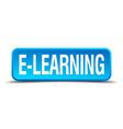 e-learning blue 3d realistic square isolated vector image