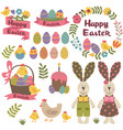 set of isolated happy easter design elements vector image
