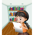 A girl reading her notes in a paper vector image vector image