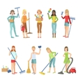 Adult People Cleaning Up Indoors vector image vector image
