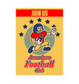 american football cartoon vintage recruitment vector image vector image