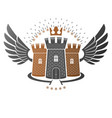 ancient bastion emblem heraldic design element vector image