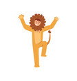 animator in lion costume performing before kids vector image vector image