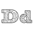 Anti coloring book alphabet the letter D vector image