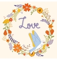 Beautiful love card with floral wreath and bird vector image vector image