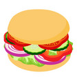 burger big icon isometric 3d style vector image vector image