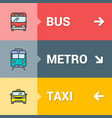 bus metro taxi signs with color outline icons vector image