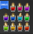 candles set glass jar christmas lighter vector image