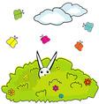 Cartoon bush with hidden bunny vector image
