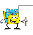 Cartoon Gift Holding a Sign vector image