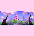 cartoon magic pink castle in mountains vector image