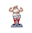 cheerful santa claus standing on scales and vector image