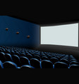 cinema auditorium with blue seats and white blank