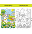 cute unicorn on spring blooming meadow coloring vector image