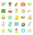 debit card icons set cartoon style vector image vector image