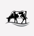 feeding cow stylized silhouette vector image vector image