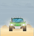 flat design car in motion on a safari trip vector image vector image