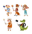 funny picture photographer mamal person take vector image vector image