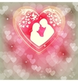 Gentle pink background with hearts vector image