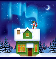 green wooden house with a snowman against vector image vector image
