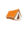 hiking and camping tent icon vector image vector image