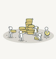little white people bring coins to stack teamwork vector image vector image