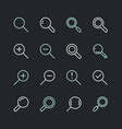 magnifying glass flat line icons search zoom in vector image vector image