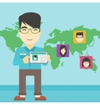 Man holding tablet with social network vector image vector image
