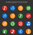 musical notes 16 flat icons vector image