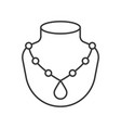 necklace with pendant jewelry related outline icon vector image