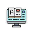 online education monitor with e-book flat color vector image vector image