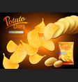 potato chips advertising background vector image vector image