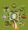 professional hunter and equipment concept vector image vector image