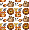 Seamless animal heads vector image vector image