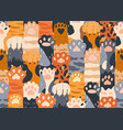 seamless pattern with cute cat paws raised up vector image vector image