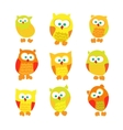 set cute cartoon owls isolated on white vector image