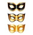 Set of golden carnival venetian masks on white vector image vector image