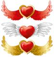 set of hearts with wings vector image vector image