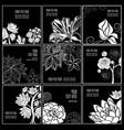set of stylish black floral background vector image vector image