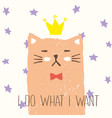 sketch poker face cat drawn with colored crayons vector image