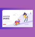 ski resort winter holidays landing page template vector image
